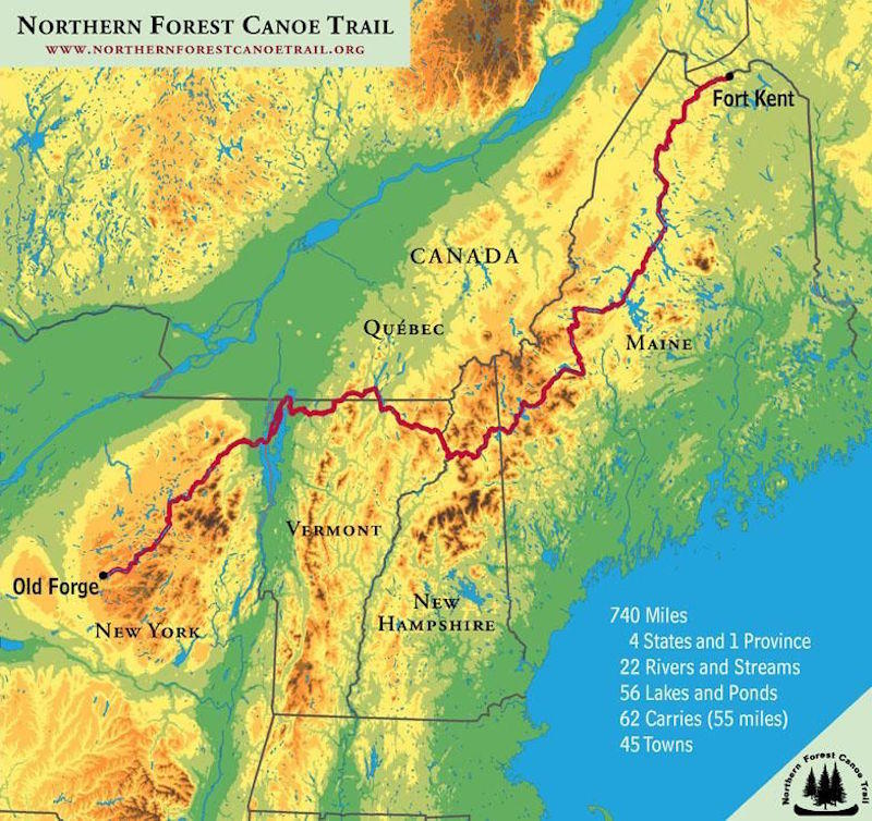 The Northern Forest Canoe Trail covers more than 700 miles through New York, Vermont, Quebec, New Hampshire and Maine.