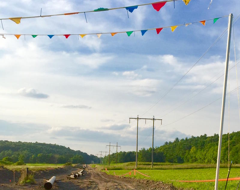 Pennants mark the entrances to gas pipeline construction roads in Addison County. The company's internal estimates show the pipeline will be complete next April, which conflicts with Vermont Gas officials' public statements.