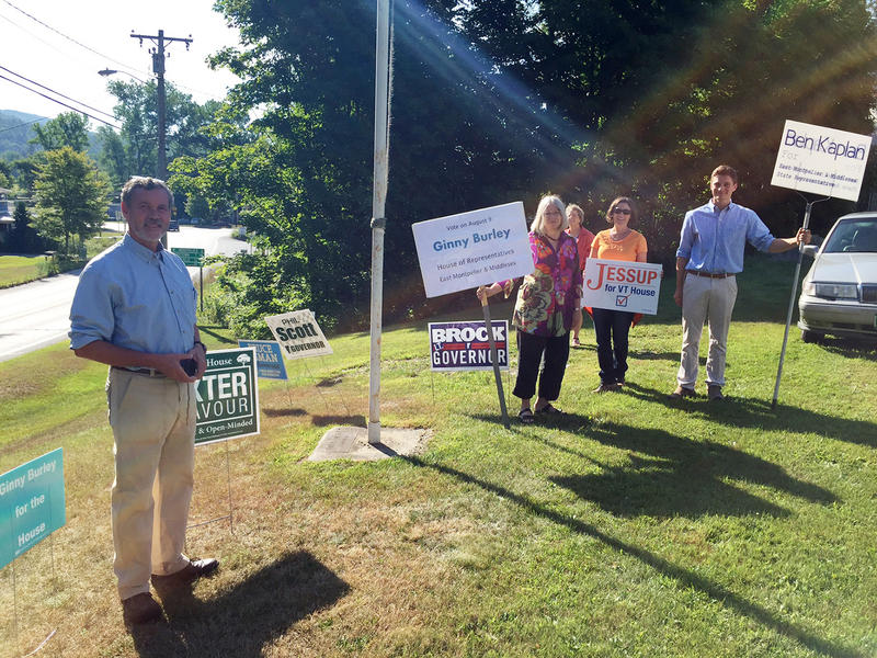 Candidates and supporters stake out in front of Middlesex's polling place on Tuesday morning. Follow VPR's coverage of the state primary online and on the air, and bookmark this page to watch the results come in on Tuesday evening.