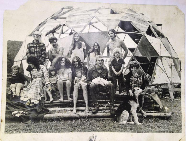 Communards posed in front of a geodesic dome in the Northeast Kingdom. We're talking about the back-to-the-land movement of the 1970s and how it changed Vermont.