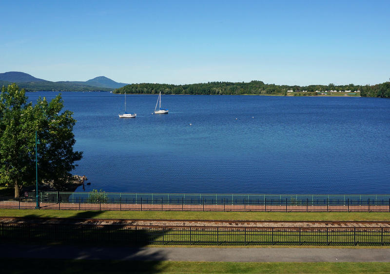 Lake Memphremagog stretches north from downtown Newport into Canada.