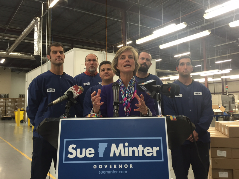 At the Twincraft Skincare facility in Essex Junction Monday, Sue Minter laid out her plan to stimulate economic development in Vermont.