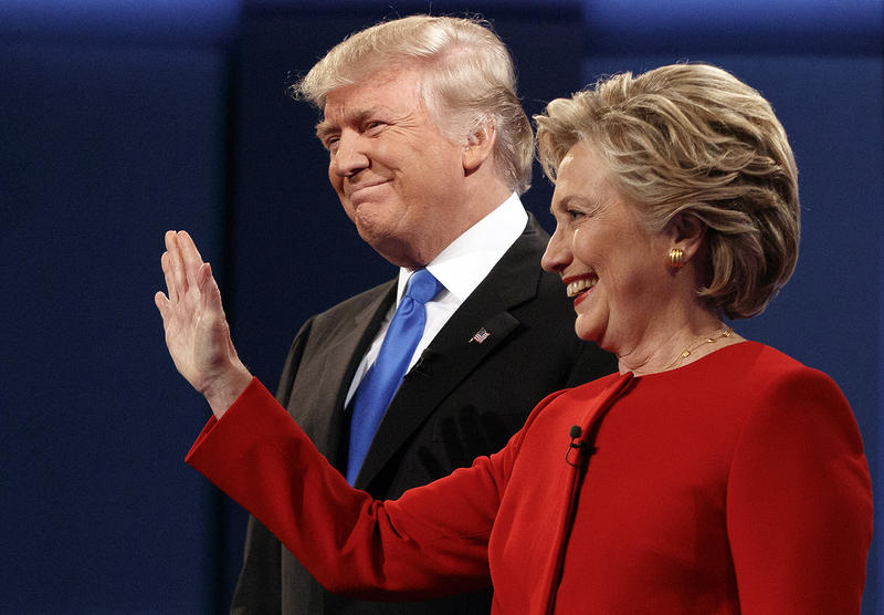 Republican presidential candidate Donald Trump stands with Democratic presidential candidate Hillary Clinton at the first presidential debate at Hofstra University on Monday in Hempstead, N.Y.