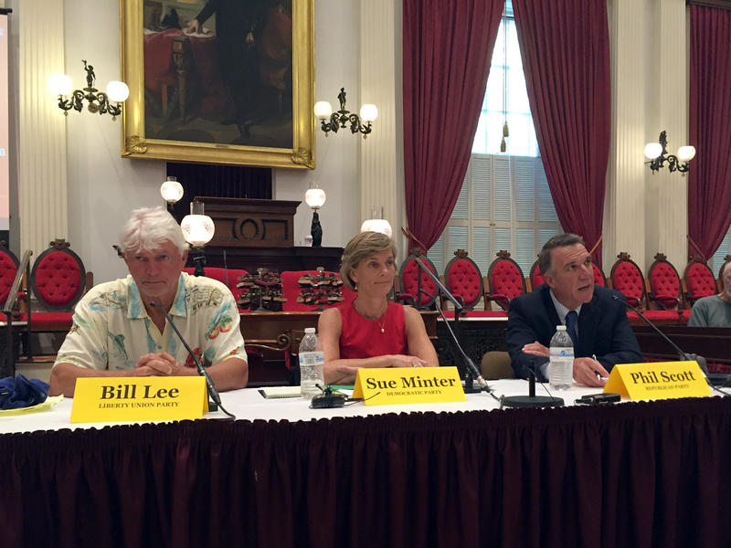 From left to right, Bill Lee, Sue Minter and Lt. Gov. Phil Scott at a debate Thursday in Montpelier hosted by the Vermont Commission on Women.