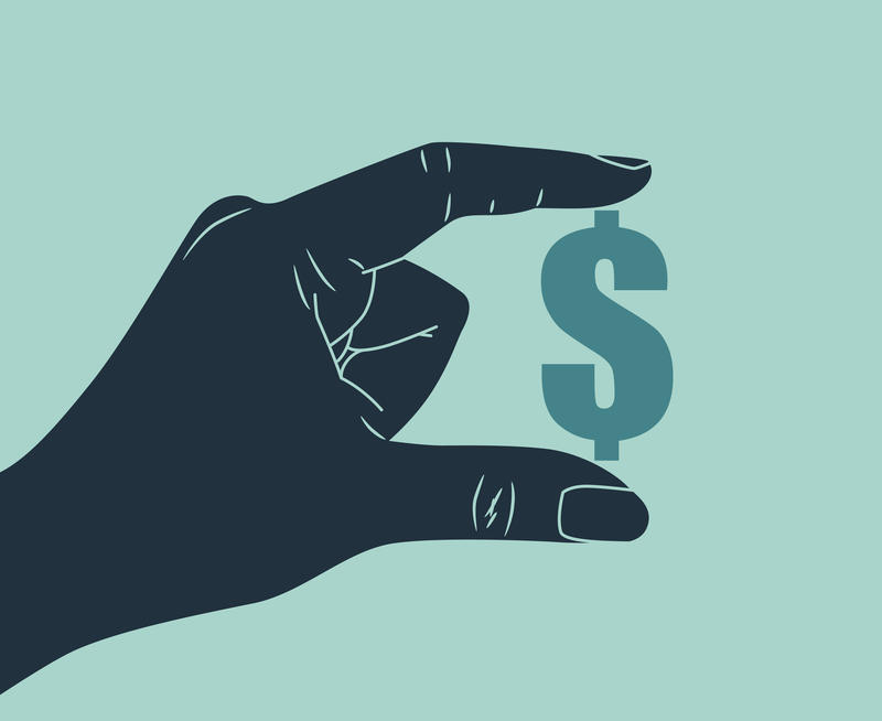 Illustration of a hand holding a dollar sign between thumb and forefinger.