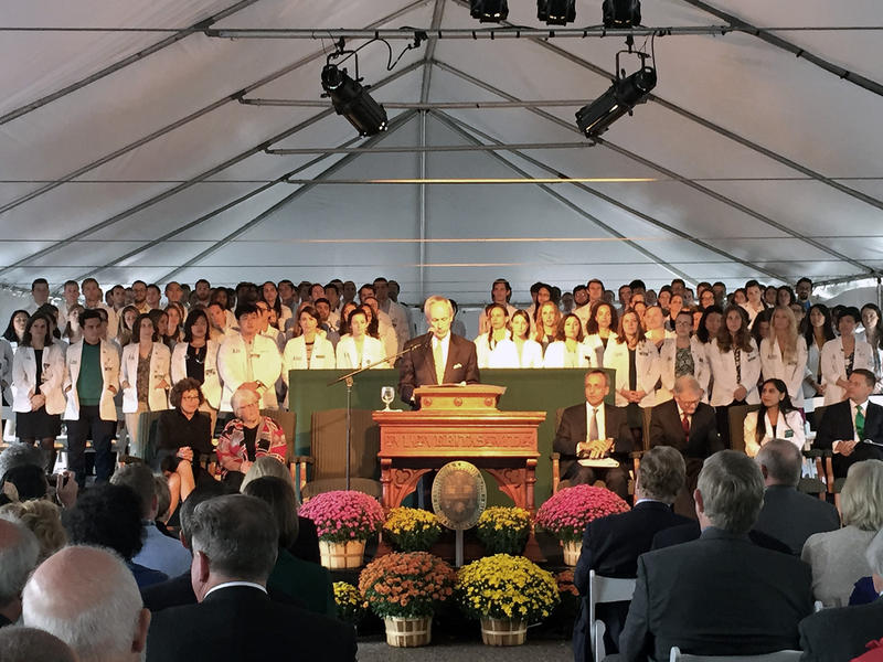 University of Vermont President Tom Sullivan speaks at a ceremony for the announcement of a $66 million gift from UVM College of Medicine alum and Burlington native Robert Larner, 98, to the UVM College of Medicine.