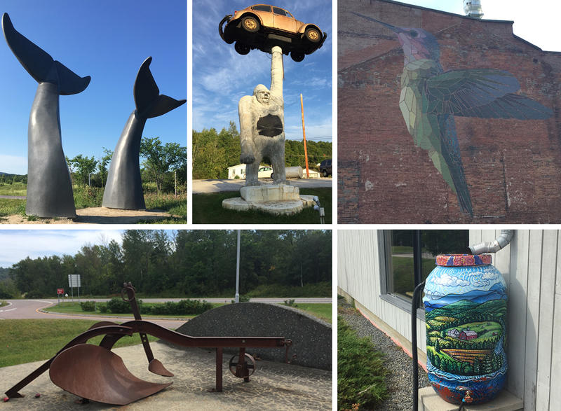 What public art exists in Vermont? Where can you find it? We discuss these questions on Vermont Edition. Find larger photos and more information about the Vermont public art examples featured in this collage in the post below.