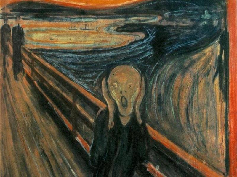 """Artist Edvard Munch's 1893 painting """"The Scream"""" is an example of Expressionism in the visual arts. The works of the Second Viennese School were an extension of this new aesthetic at the beginning of the 20th century."""