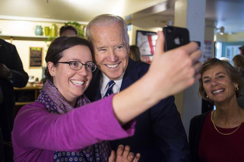 Vice President Joe Biden stops for a selfie with a diner at Penny Cluse Café in Burlington Friday. Biden visited Burlington to share his 'Cancer Moonshot'.