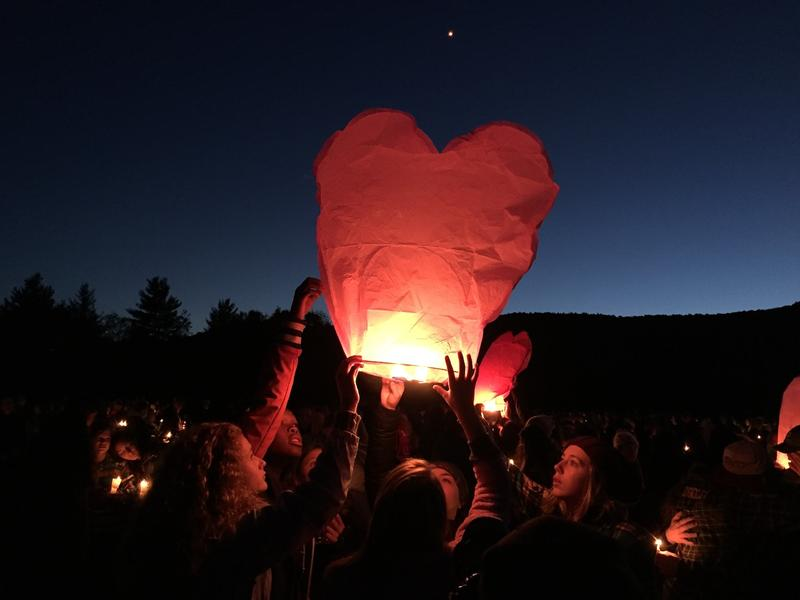 Harwood Union High School students lit candles and lanterns Monday evening in memory of the five teens who died in a car crash on I-89 Sunday. Four of the victims were students at the school.
