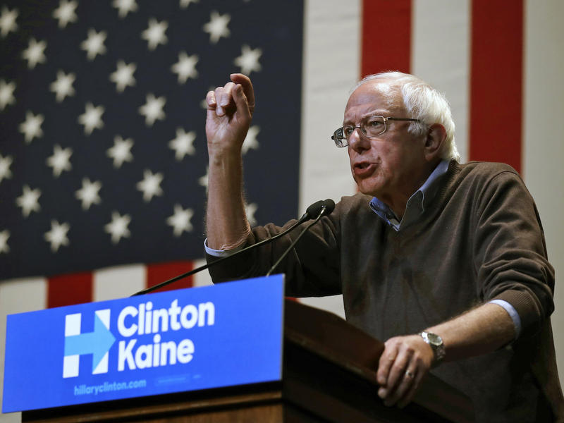 Sen. Bernie Sanders, shown here at a campaign event for Democratic nominee Hillary Clinton Friday in Keene, N.H., announced his support for a full roster of Democratic statewide candidates Thursday.