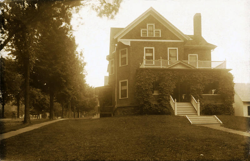 A photograph of Aron Garceau's home in St. Albans City, seen here on a 1911 postcard sent to a former (or not so former?) resident, B.B. Perkins.