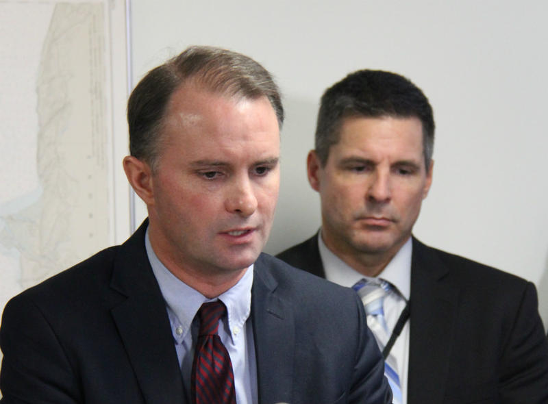 Chittenden County State's Attorney T.J. Donovan announced developments Monday in the investigation into a series of crashes on I-89 in the early hours of Sunday morning. Vermont State Police Major Glenn Hall, right, heads up the Major Crimes Unit.