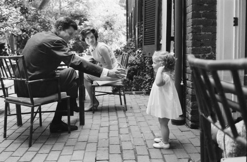 John, Jackie and Caroline Kennedy in Georgetown. Photos of the Kennedys by Mark Shaw, the unofficial family photographer, are on display at the Dianich Gallery in Brattleboro.
