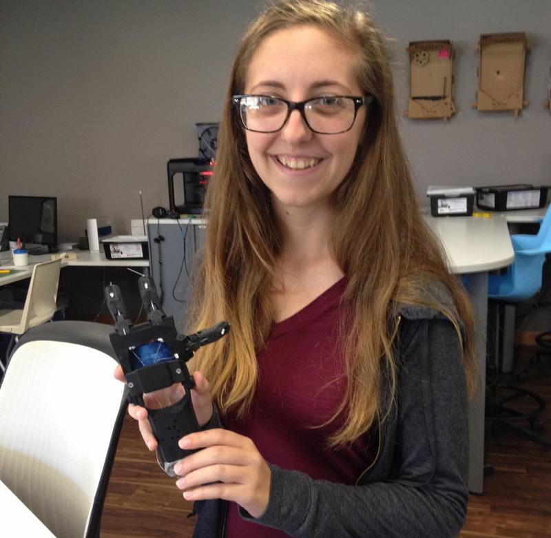 Kelsey Buchanan, a junior at St. Michael's College in Colchester, has been making prosthetic hands using 3-D printers. She hopes to eventually donate the hands to children and adults in need.