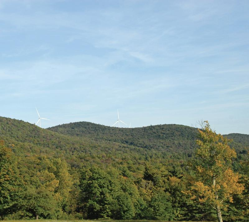 A simulated photo shows the view from Windham of a proposed wind project. The debate over siting renewable energy projects like this one has become a flashpoint in Vermont's gubernatorial campaign.