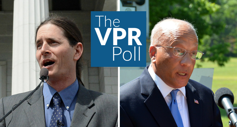 The VPR Poll, conducted by the Castleton Polling Institute, shows Democratic-Progressive David Zuckerman, left, leading Republican Randy Brock, 43 percent to 26 percent among likely voters.