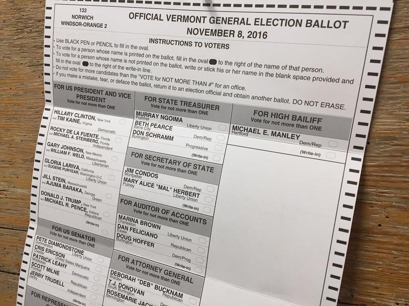 Secretary of State Jim Condos says that the practice is legal, because there's no Vermont law expressly prohibiting it. However, it is illegal to take a picture of another person's ballot.
