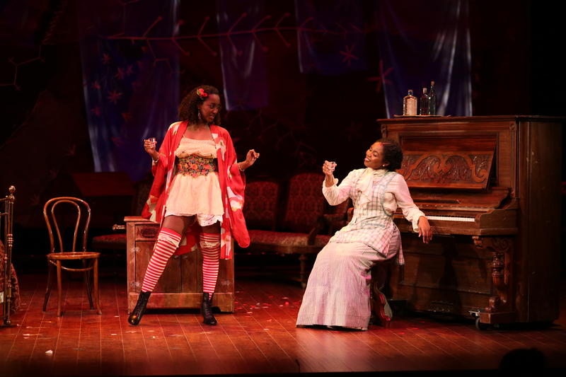 'Intimate Apparel' actresses Nashe Mutenda, left, and Zahra Ruffin discuss the challenges of being a woman of color in early 20th century New York, in a student play staged at the Hopkins Center.