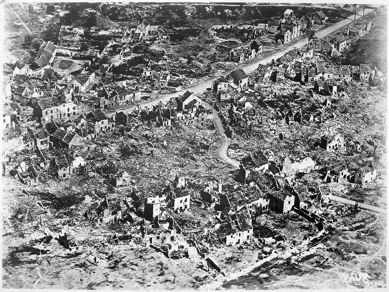 This is an aerial view of the ruins of Vaux-devant-Damloup, France, 1918.  The world of music was also affected as composers served in battle and sought to express their patriotism and also the true human cost of the conflict.
