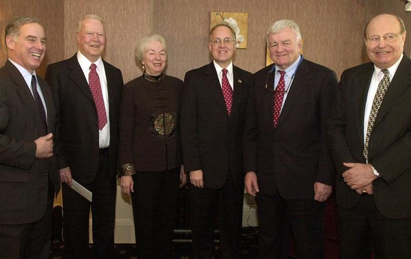 This Jan. 9, 2003 photo, taken ahead of Jim Douglas' gubernatorial inauguration, features a number of former Vermont governors. From left: Howard Dean, Philip Hoff, Madeleine Kunin, Jim Douglas, Tom Salmon and F. Ray Keyser.