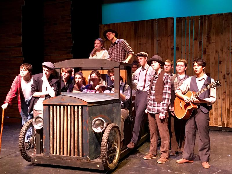"Mill River Union High School's theater department poses during a rehearsal for their upcoming performance of John Steinbeck's ""The Grapes of Wrath."" Theater director Peter Bruno says the story of the Joad family seems especially relevant now."