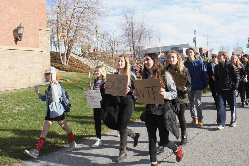 Students at the University of Vermont marched through campus on Tuesday, chanting and holding signs expressing concerns about President-elect Donald Trump's rhetoric and policy proposals.