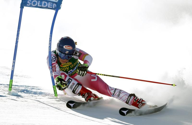 Mikaela Shiffrin, a Burke Mountain Academy alumna, competes during the first run of an alpine skiing women's World Cup giant slalom, in Soelden, Austria, Saturday on Oct. 22.