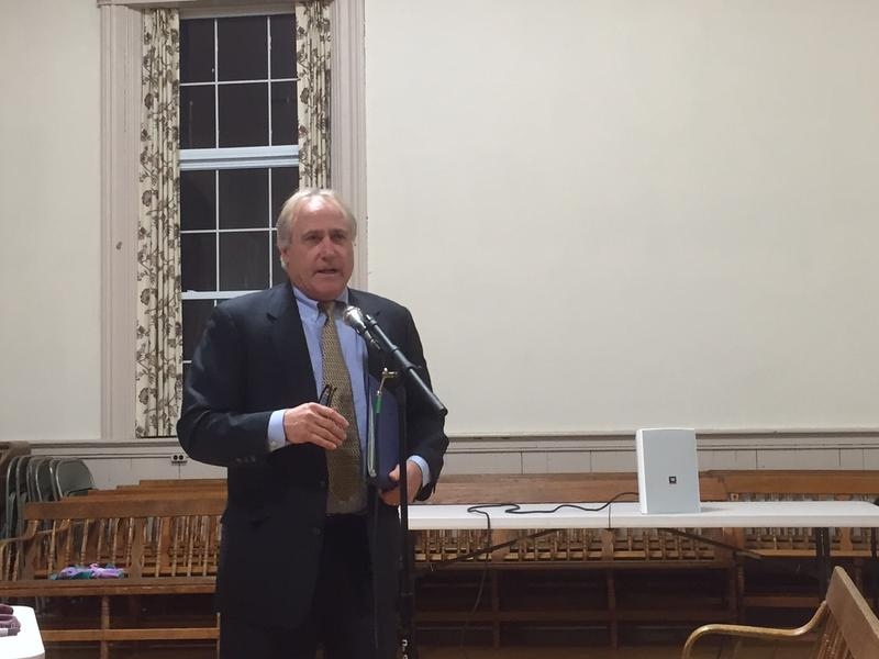 Chester town attorney Jim Carroll talks about a proposed sex offender ordinance at a meeting Thursday.