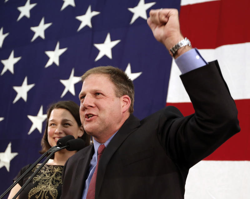 Republican Chris Sununu, pictured here with his wife Valerie in Concord, N.H. on Nov. 9, 2016, will be sworn in as New Hampshire's new governor on Thursday.
