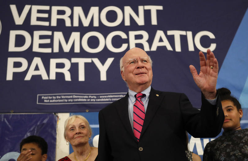 Democratic Sen. Patrick Leahy acknowledges supporters after winning re-election over Republican challenger Scott Milne. Credit Robert F. Bukaty Edit | Remove