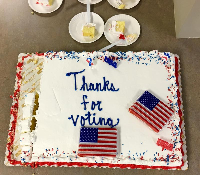 Our political panel will digest the data as though it were this delicious election cake in Mendon! We'll talk through the results from Election Day 2016.