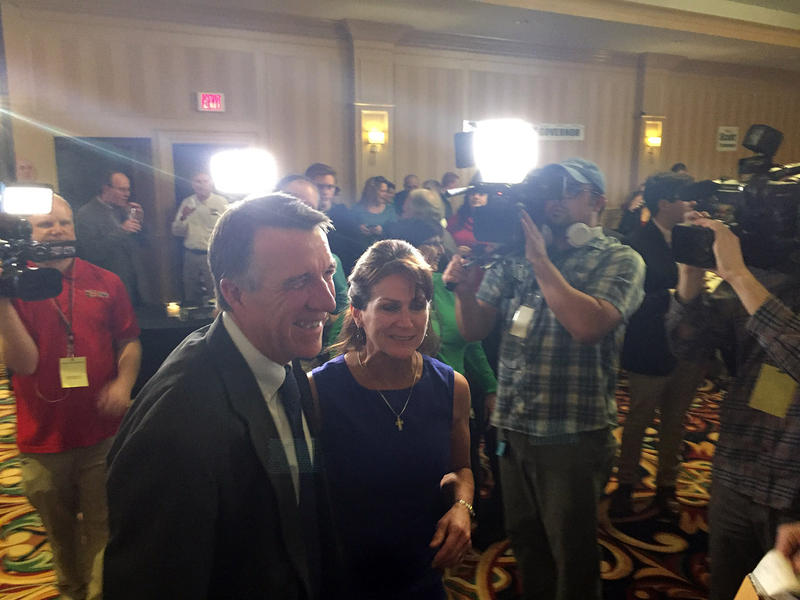 Lt. Gov. Phil Scott arrives at the GOP election watch party at the Sheraton hotel in Burlington with his wife, Diana McTeague-Scott. We're talking through all the election results with a panel of political reporters.