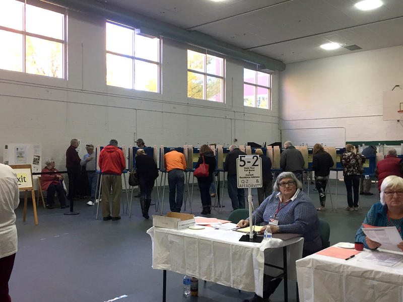 A crowded polling place in Shelburne.