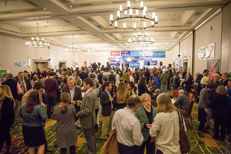 People wait for election results to come in at the Vermont Democratic Party election headquarters at the Hilton Hotel in Burlington on Tuesday evening.