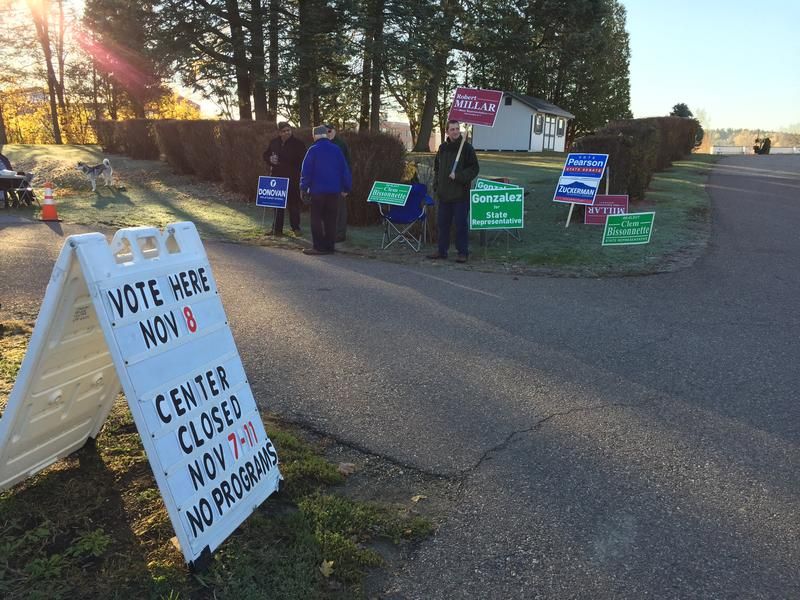 Morning sun shines outside the polling place at the Winooski Senior Center.