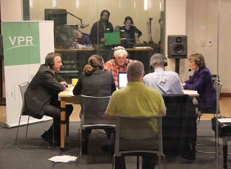 "The three gubernatorial candidates – Republican Phil Scott (pictured far left), Liberty Union's Bill ""Spaceman"" Lee (pictured center, facing), Democrat Sue Minter (pictured far right) – for a debate in VPR's Colchester studio on Nov. 3, 2016 at 7 p.m."