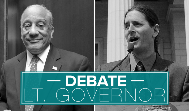 "Two candidates for lieutenant governor – Republican Randy Brock, left, and Progressive/Democrat David Zuckerman, right – debated each other on ""Vermont Edition"" on Nov. 1, 2016."
