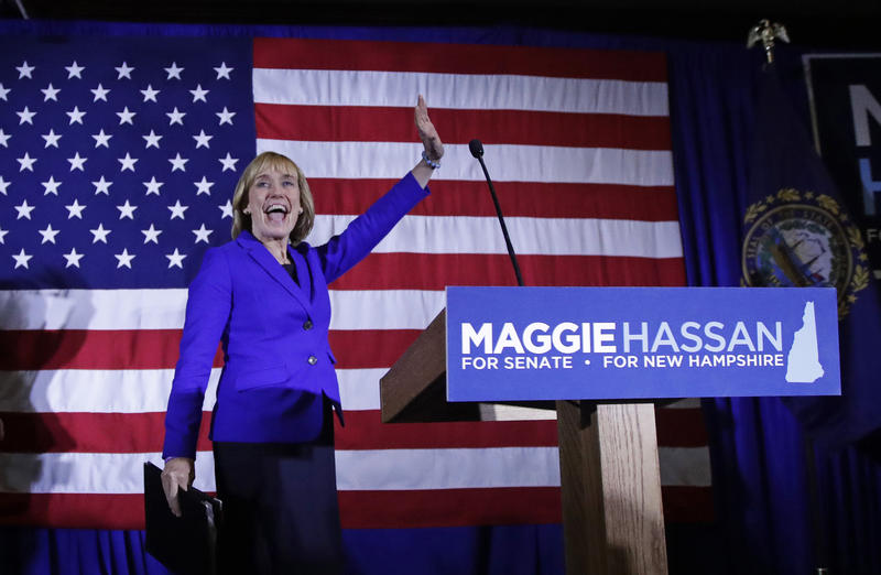 New Hampshire's Democratic Gov. Maggie Hassan, pictured here at a Manchester, N.H., rally on Nov. 9, defeated incumbent Republican Sen. Kelly Ayotte in a close race for that U.S. Senate seat.