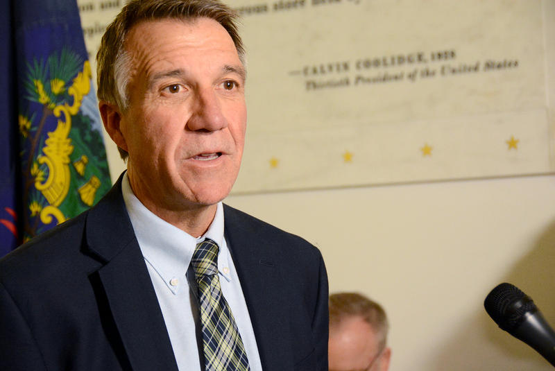 Gov. Phil Scott, shown here at a Statehouse news conference in November, wants a test that measures the specific amount of THC in a driver's system.