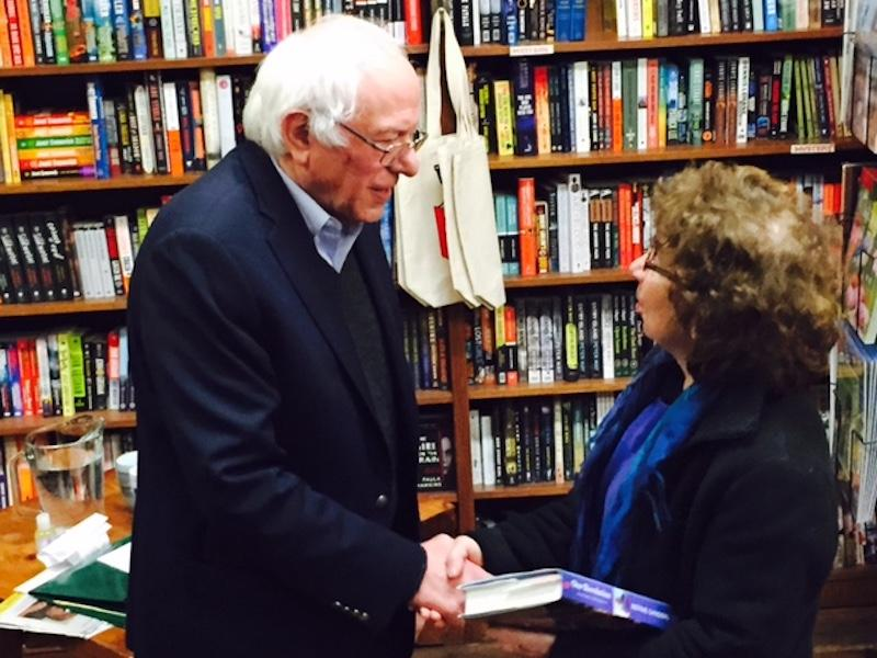 Sen. Bernie Sanders at a book signing in Montpelier Tuesday. The event was part of a promotional tour Sanders is doing for his new book, 'Our Revolution'.
