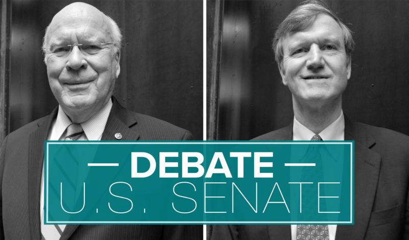 "Two candidates for U.S. Senate – Democratic incumbent Sen. Patrick Leahy, left, and Republican Scott Milne, right – debated each other on ""Vermont Edition"" on Nov. 2, 2016."