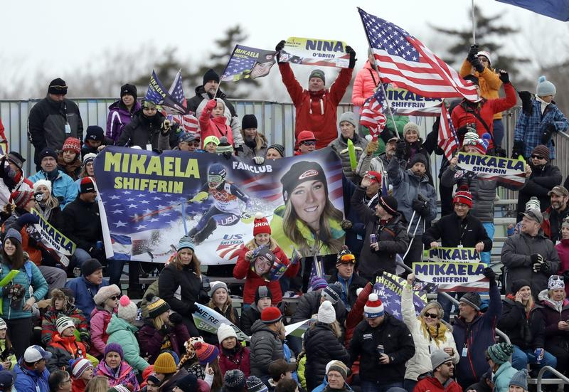 Thousands of fans celebrated U.S. skiing superstar Mikaela Shiffrin's win in the slalom race during the Audi FIS Ski World Cup on Sunday.