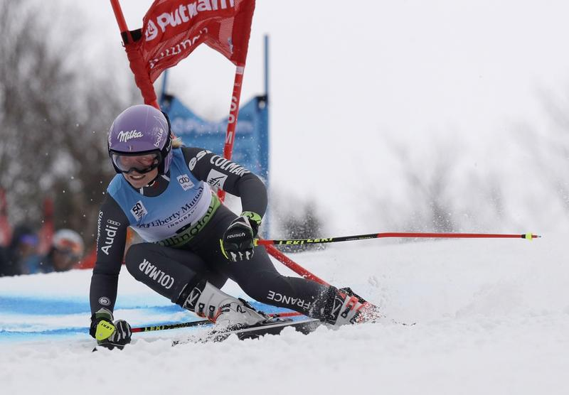 Tessa Worley, of France, shows her winning form during the women's FIS Alpine Skiing World Cup giant slalom race, Saturday in Killington.