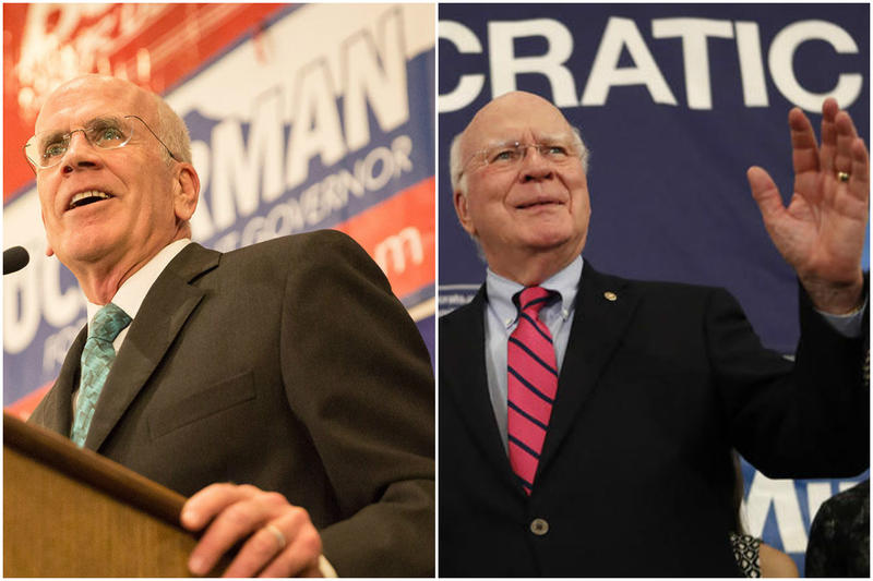 Rep. Peter Welch and Sen. Patrick Leahy at the Democratic election headquarters in Burlington Tuesday night. Both won reelection, and have expressed concern about what will unfold under a Trump administration.
