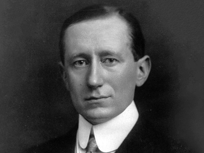 This is a photograph of the Italin inventor, Guglielmo Marconi, credited as the inventor of radio.