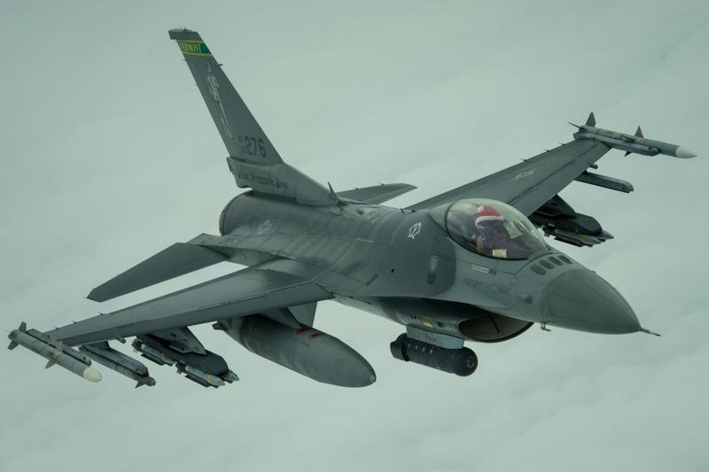 A Vermont Air National Guard F-16 fighter jet, with its pilot wearing a Santa hat, flew air support missions over Iraq on Chirstmas Day.