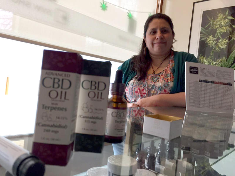 Julie Bingham works at Southern Vermont Wellness in Brattleboro. The medicinal marijuana shop now has a separate store open to the public that sells hemp products.
