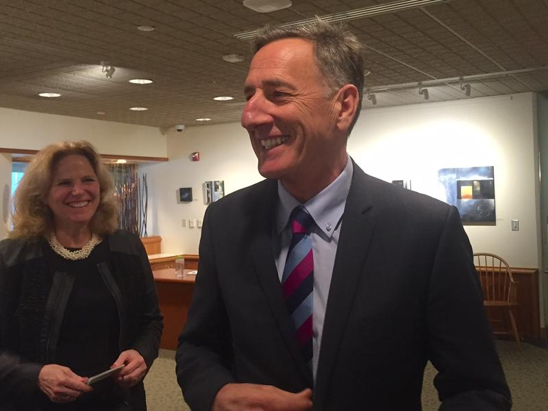 Gov. Peter Shumlin speaks with reporters outside his office Thursday afternoon about his plan to offer pardons to people convicted of low-level marijuana offenses.