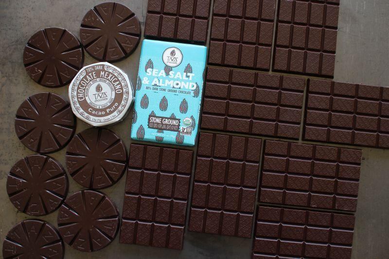 "Taza Chocolate, a ""bean-to-bar"" chocolate maker, starts out with cocoa beans and ends up with bars of chocolate."